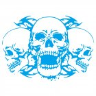 Skull Car Body Racing Side Door Long Stripe Stickers Auto Vinyl Decal blue