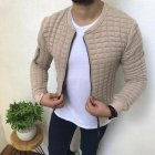Slim Fit Jacket Leisure Sports Coat Men Casual Jacket Khaki_M