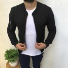 Slim Fit Jacket Leisure Sports Coat Men Casual Jacket black_L