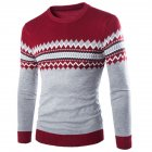 Slim Pullover Long Sleeves and Round Collar Sweater Floral Printed Base Shirt for Man red_L