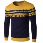 Slim Pullover Long Sleeves and Round Collar Sweater Floral Printed Base Shirt for Man yellow L