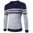 Slim Pullover Long Sleeves and Round Collar Sweater Floral Printed Base Shirt for Man Navy_XXL