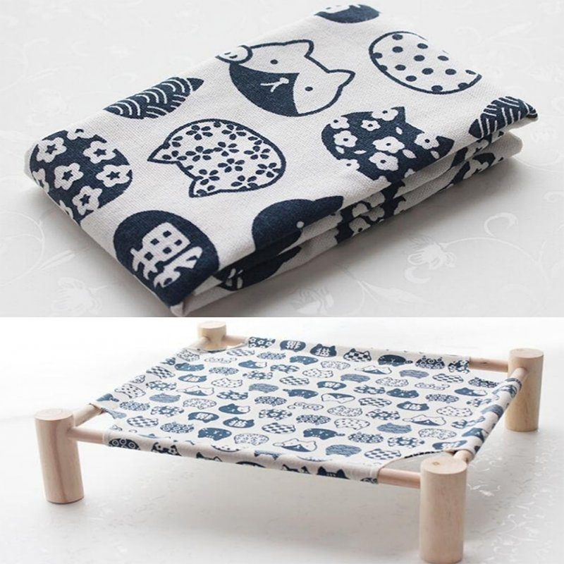 Small Dog Cat Bed Mats Breathable Comfortable Print Washable Pet Sleeping Cat Hammock Bed Kitten Puppy Nest Blue cat on white