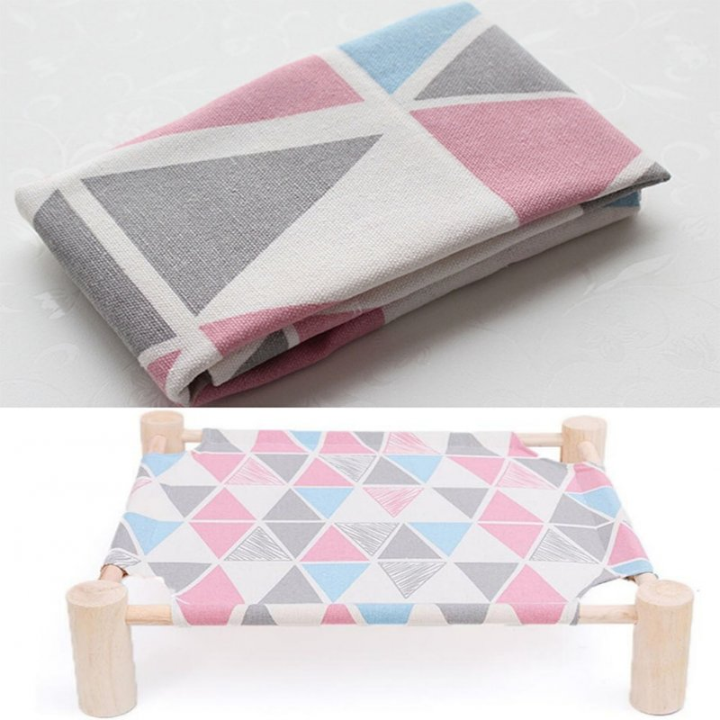 Small Dog Cat Bed Mats Breathable Comfortable Print Washable Pet Sleeping Cat Hammock Bed Kitten Puppy Nest Pink triangle