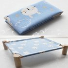 Small Dog Cat Bed Mats Breathable Comfortable Print Washable Pet Sleeping Cat Hammock Bed Kitten Puppy Nest Blue bunny