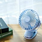 Small Fan Charging USB Fan Desktop Clip 4-Inch 6400mA Glacier Blue 4000mAh
