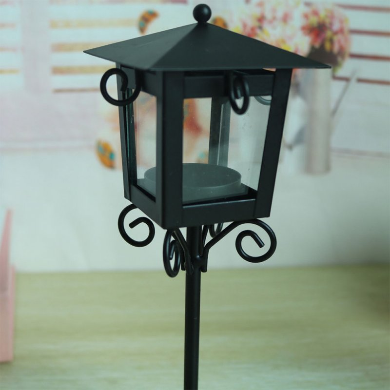 Small Street Lamp Modelling Candle Holder European Simple Creative Wedding Candlestick black