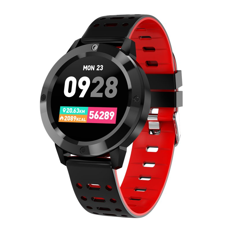 Smart Bracelet Blood Pressure Step Count Push Notification Color Screen Bluetooth Sports Round Dial Waterproof Watch red
