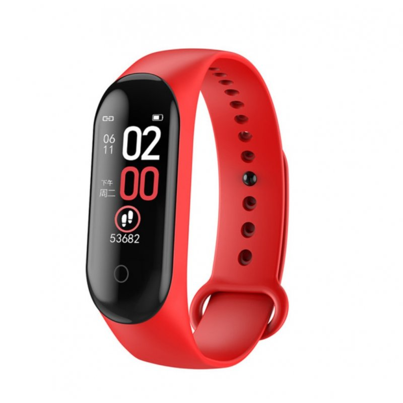 Smart Bracelet Bluetooth Watch Message Notification Heart Rate Step Count IP68 Waterproof red