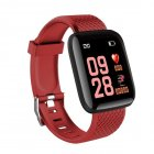 Smart Bracelet Color Screen Heart Rate Smart Band FitnessTracker IP67 Waterproof SmartWatch   Red