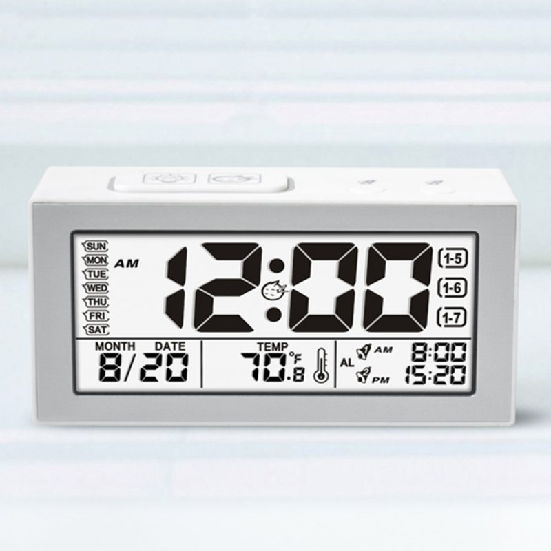 Smart Silent Luminous Alarm Clock 2 Kinds Alarm Ring LCD Wide View Screen English Edition white