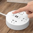 Smart Socket Power Strip Round USB Quick Charge Outlet Plug Multifunctional Desktop Socket Household Gadget White_2.8 meters