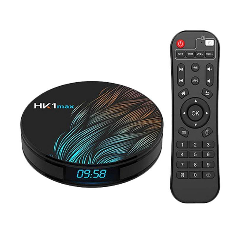 Smart TV Box HK1 Max Android 9.0 4GB 128GB 64GB 32GB Rockchip 4K Wifi Netflix Android TV Set top Box black_4GB + 32GB with i8 Keyboard