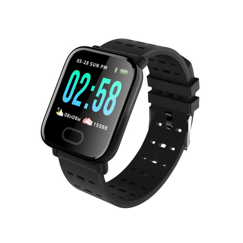 Smart Watch A6 Heart Rate Monitor Blood Pressure Waterproof Smart Bracelet Smartwatch Clock black