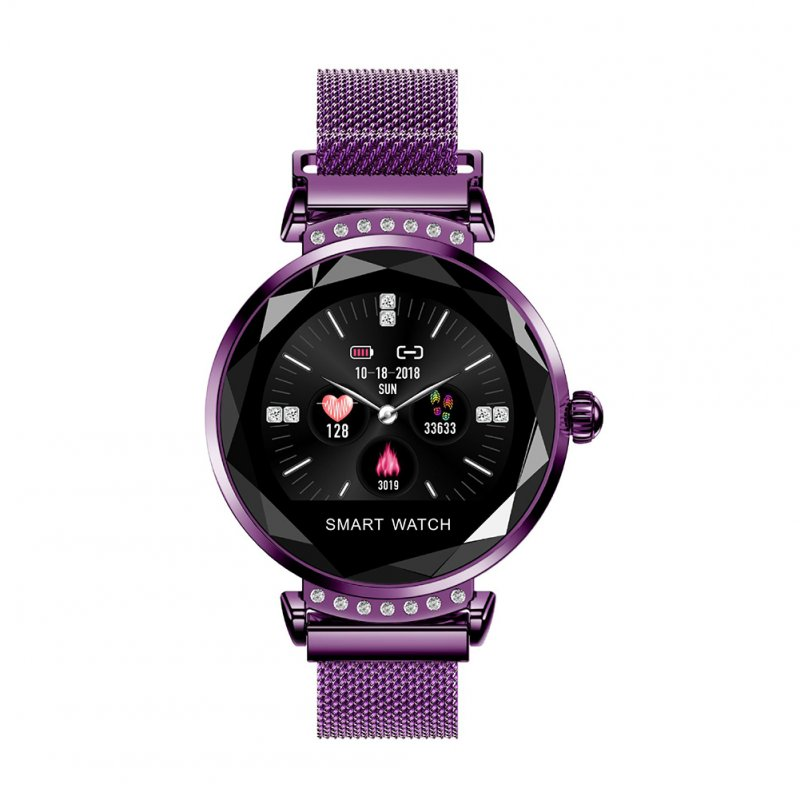 Smart Watch Bracelet Heart Rate Detection IP67 Waterproof Magnetic Strap Sports Bracelet Purple