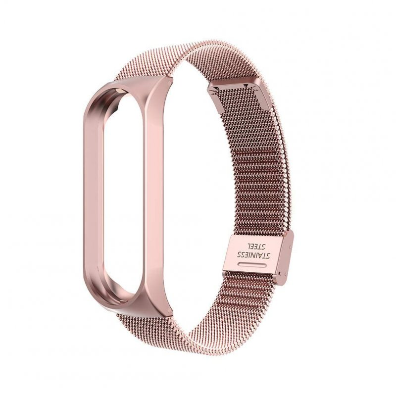 Smart Watch Buckle Wrist Strap Replacement Bracelet Stainless Steel for Xiaomi Mi Band 4 Watch Band  Rose pink