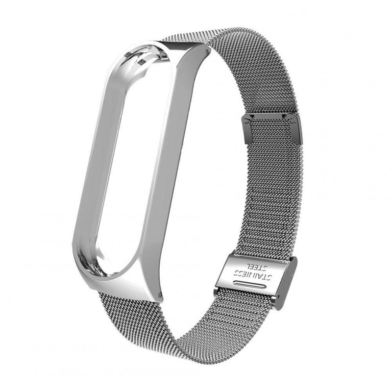 Smart Watch Buckle Wrist Strap Replacement Bracelet Stainless Steel for Xiaomi Mi Band 4 Watch Band  Silver