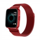 Smart  Watch Hd Screen Music Ip68 Waterproof Sports Monitoring Heart Rate Sleep Pedometer Smart Watch Red steel belt
