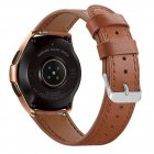 Smart Watch Leather Watch Strap Double Color Round Tail for Samsung Galaxy (42mm) SM-R810 brown