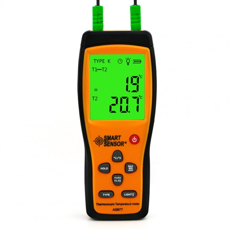 SmartSensor K-type Thermocouple Thermometer 2 Channel Digital Temperature Sensor Probe High Accuracy