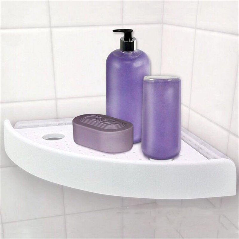Snap Up Corner Shelf Triangle Fan-shaped Bathroom Wall Corner Mount Storage Holder Rack with Hooks white_23 * 23 * 4.5cm