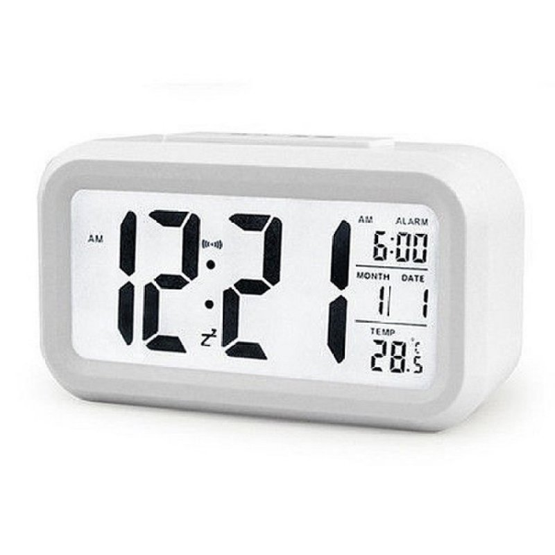 Snooze Temperature Display Alarm Clock Mute Backlight Electronic Creative Digital Clock Gift white