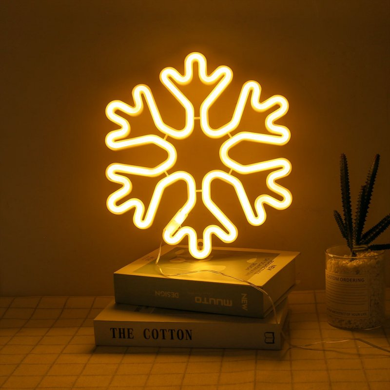 Snowflake LED Light Fashion Desk Lamp Night Illumination USB Charging Mall Home Holiday Decoration Christmas Gift Friend Present Warm White