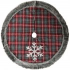Snowflake Plaid Faux Fur Edging Tree Skirt Tree Bottom Decorative Cloth Christmas Decoration Snowflake plaid faux fur edging tree skirt