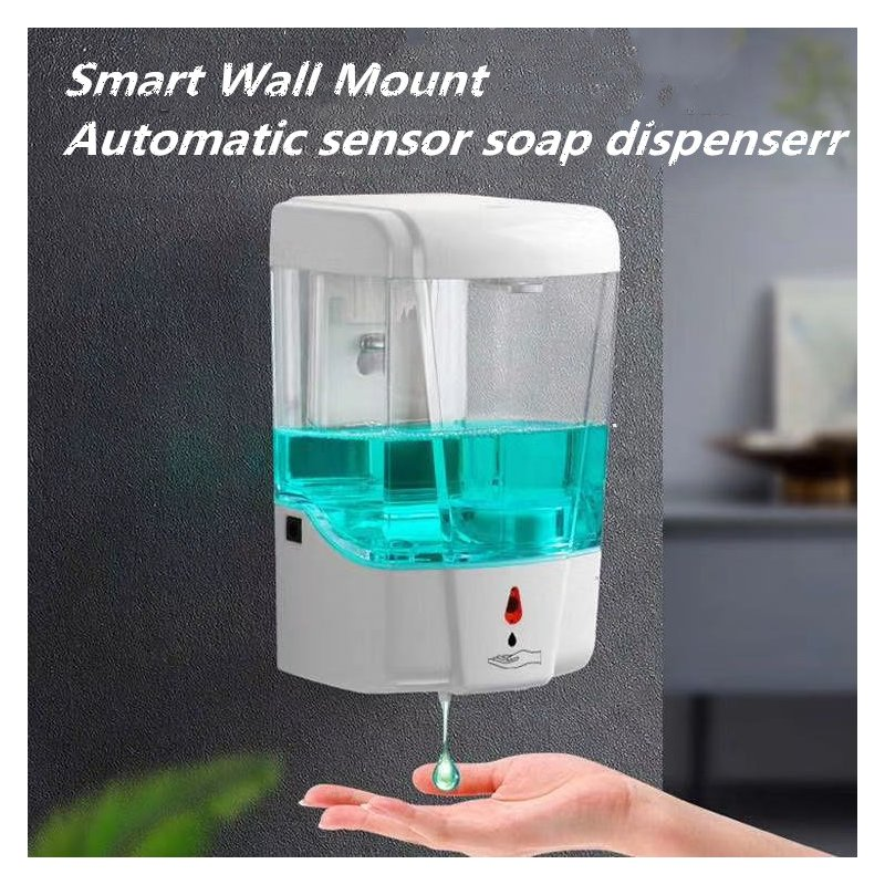 Soap Dispenser Battery Powered 700ml Wall-Mount Automatic IR Sensor Touch-free Kitchen Soap Lotion Pump for Kitchen Bathroom white