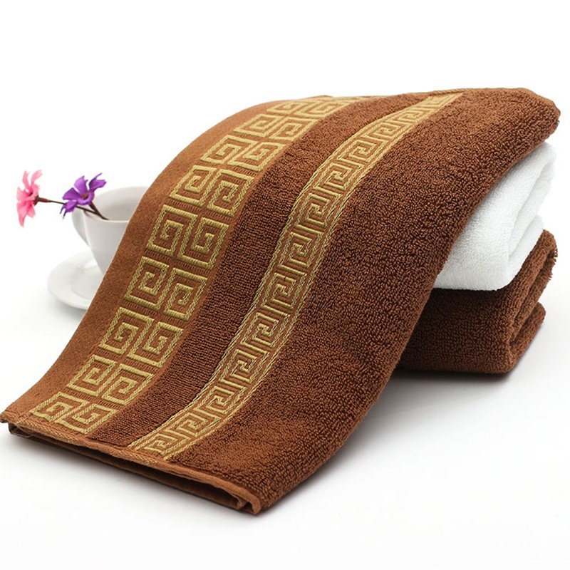 Soft Cotton Absorbent Terry Face Towel Luxury Hand Bath Beach Hair Salon Towels Coffee_Coffee
