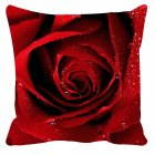 Soft Rose Printing Cushion Cover Pillow Cover Throw Case for Home Sofa Car Decoration No Pillow Inner  Waterdrop rose 45 45cm