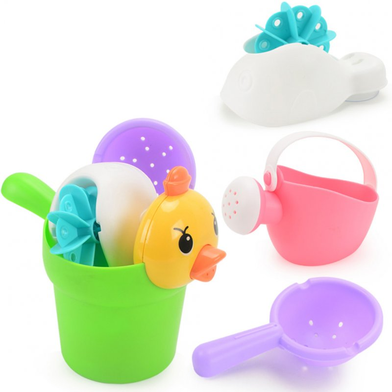Soft Silicone Beach Toys for Children SandBox Set Kit Bucket Shovel Kettle 4 piece set (duck pot)