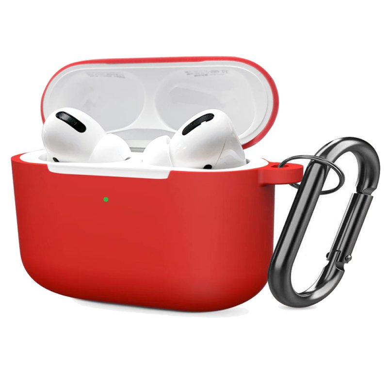 Soft Silicone Case for Airpods Pro Shockproof Hook Protective Bags With Keychain Earbuds Cover red