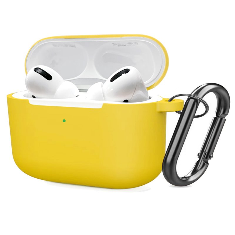 Soft Silicone Case for Airpods Pro Shockproof Hook Protective Bags With Keychain Earbuds Cover yellow