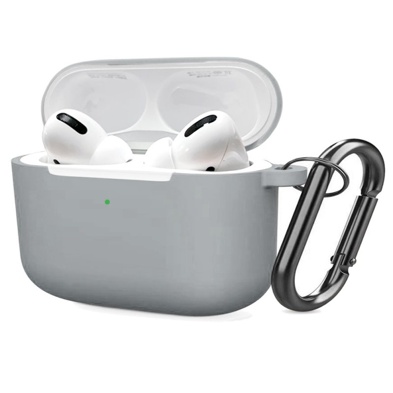 Soft Silicone Case for Airpods Pro Shockproof Hook Protective Bags With Keychain Earbuds Cover light grey