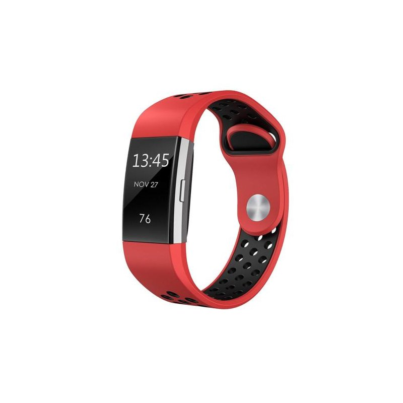 Soft Silicone Replacement Spare Sport Band Bracelet Strap for Fitbit Charge 2  Red black
