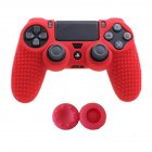 Soft Silicone Rubber Skin Case Gel Protective Cover Rocker Cap Set for 4 for PS4 Controller  red