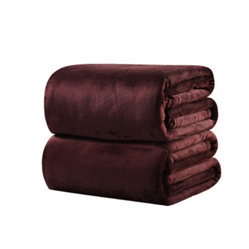 Soft Solid Color Warm Throw Blanket for Sofa Home Supplies brown