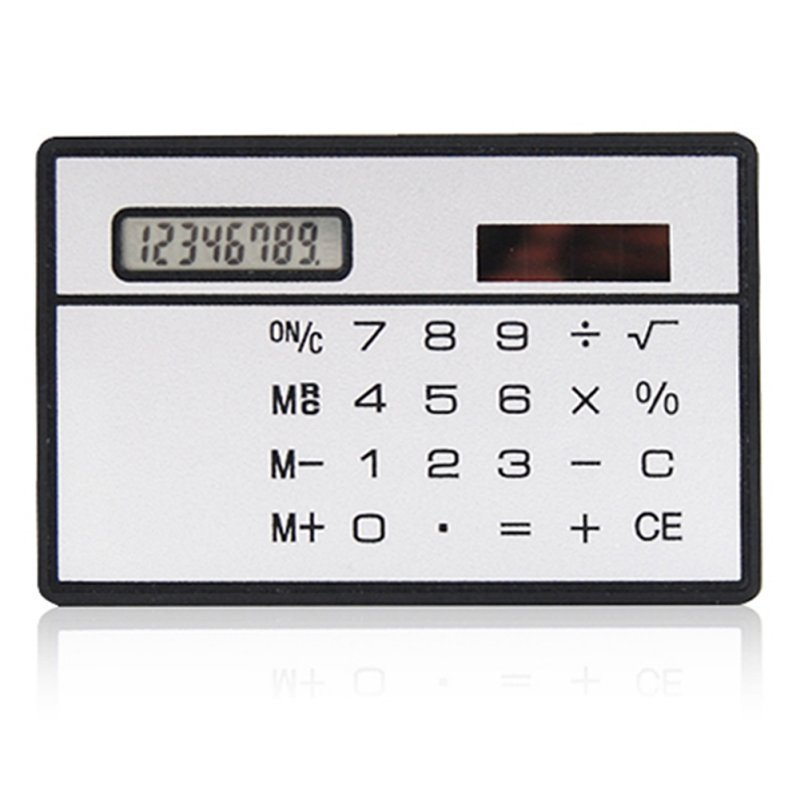 Solar Card Calculator Ultra-thin Handheld Office Computer Student Mini Pocket Calculator Silver