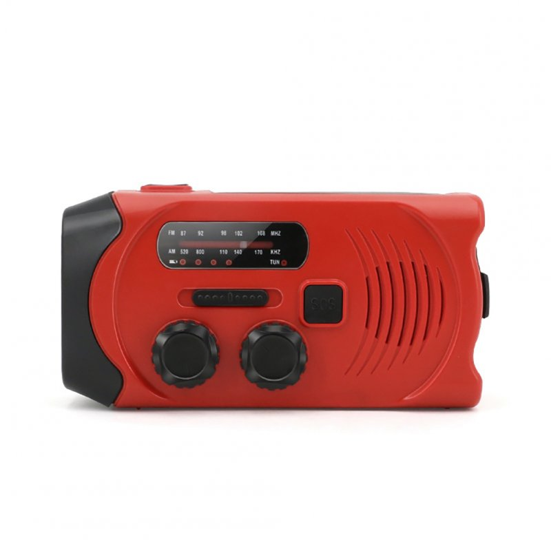 Solar Hand Crank Radio Weather Radio for Emergency with AM/FM, LED Flashlight, Reading Lamp red