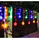Solar LED String Light Curtain Lamp for Outdoor Garden Party Decoration Star moon 3.5 meters wide (color light + remote control)