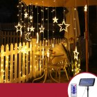 Solar LED String Light Curtain Lamp for Outdoor Garden Party Decoration Star moon 3.5 meters wide (warm light + remote control)