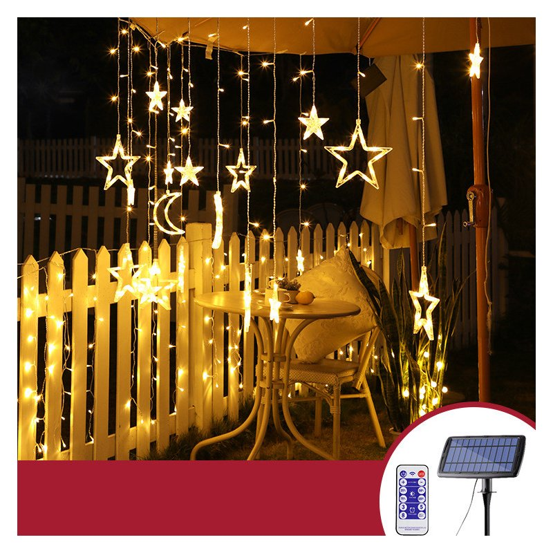Solar LED String Light Curtain Lamp for Outdoor Garden Party Decoration Star 3.5 meters wide (warm light + remote control