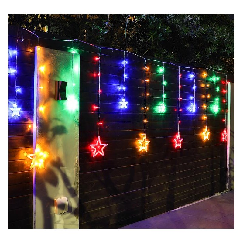 Solar LED String Light Curtain Lamp for Outdoor Garden Party Decoration Star color light + remote control
