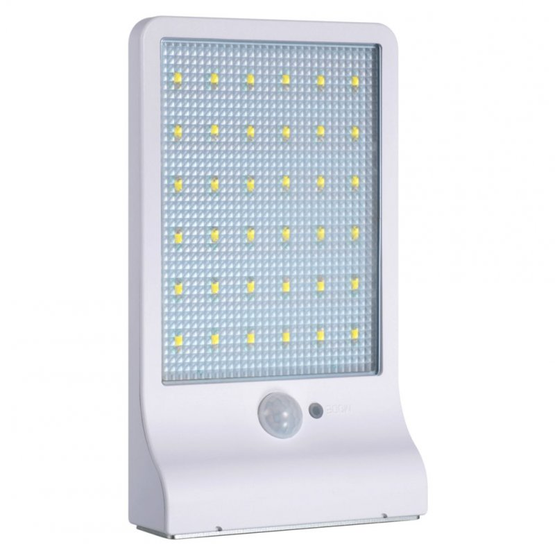 Solar Light Integrated Induction Wall Mounted Lamp Energy Saving 36LED Garden Light Lamp White