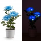 Solar Power 3 LED Rose Flower Lamp Landscape Night Light Sensor Lamp Home Decor blue
