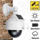 Solar Power Fake CCTV Camera Realistic Dummy Security Simulation Monitor white