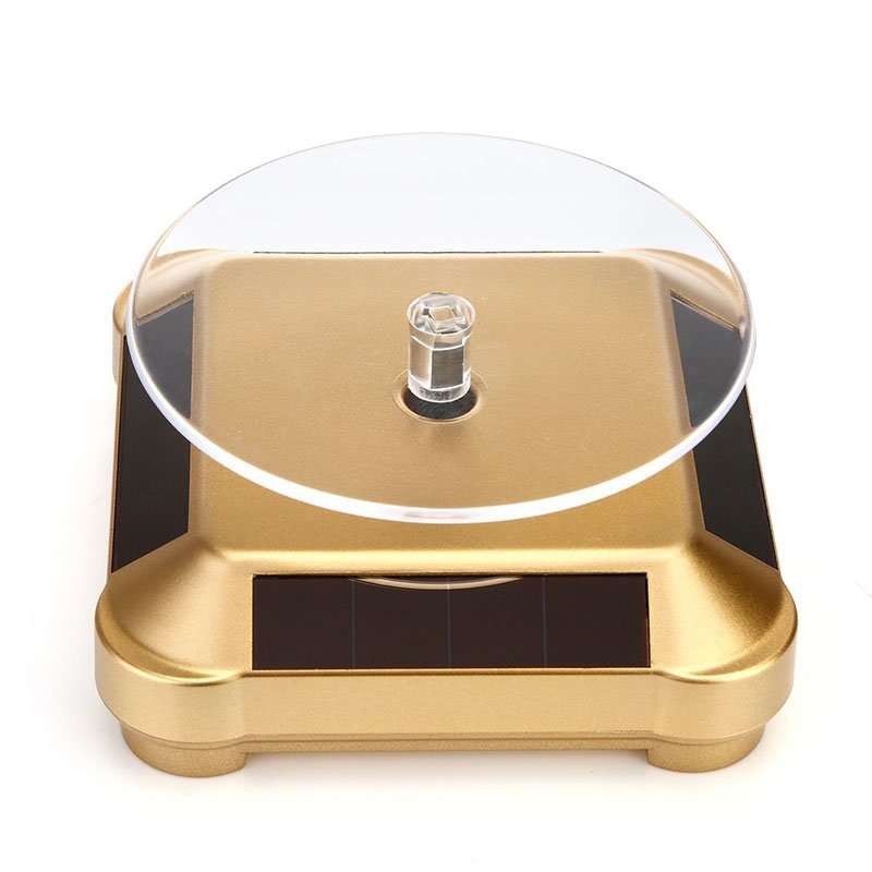 Solar Powered 360 Degree Rotating Display Stand Turn Plate Turntable Display Stand for Jewelry Watch Ring Phone Decoration Golden_100*100*3.5MM