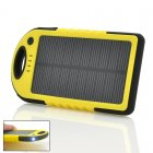 Solar Powered Charger has a 5000mAh Lithium Polymer Battery  Dual USB Output  Weatherproof  Dustproof  Shockproof  and an LED Torch