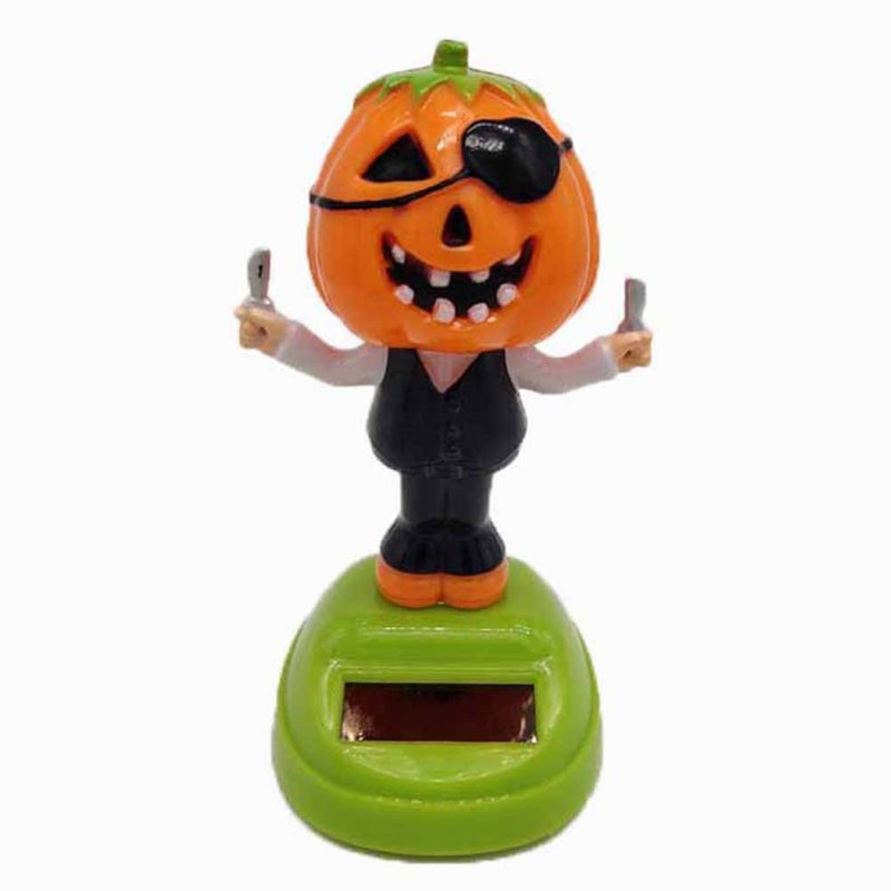 Solar Powered Creative Dancing Ornament Pumpkin Man with Knife Car Cartoon Ornament Children Gift
